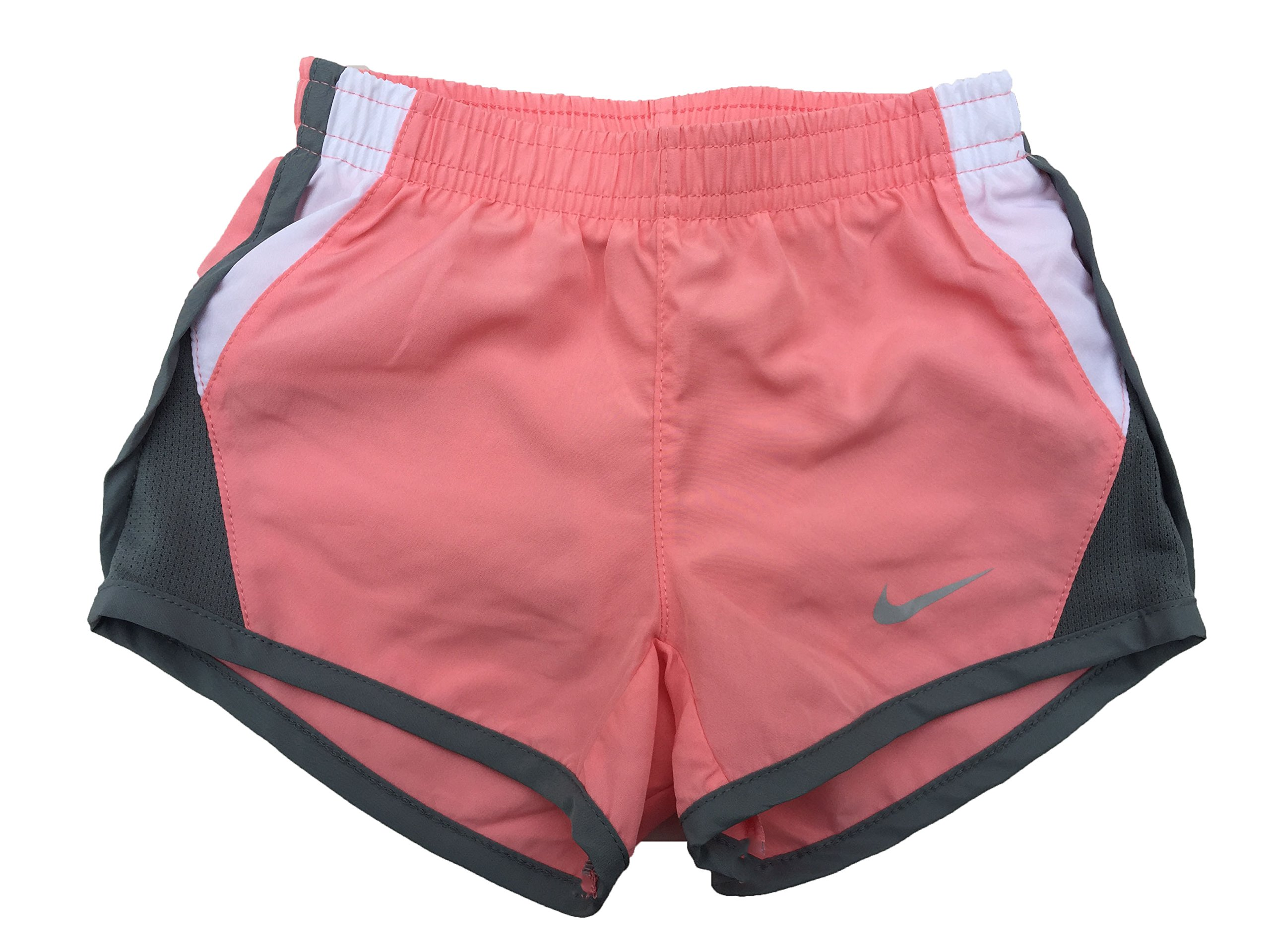 Nike Little Girls Tempo Shorts (6X, Bright Melon (A4E) / White/Grey/Reflective Silver) by Nike