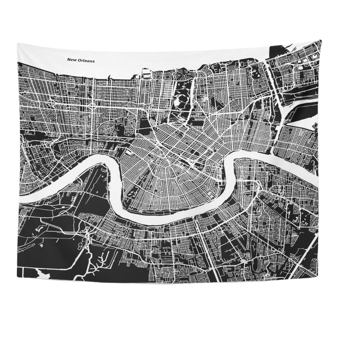 Emvency Tapestry Downtown New Orleans Map Artprint Black Landmass White Water and Roads Mississippi River Home Decor Wall Hanging for Living Room Bedroom Dorm 60x80 Inches