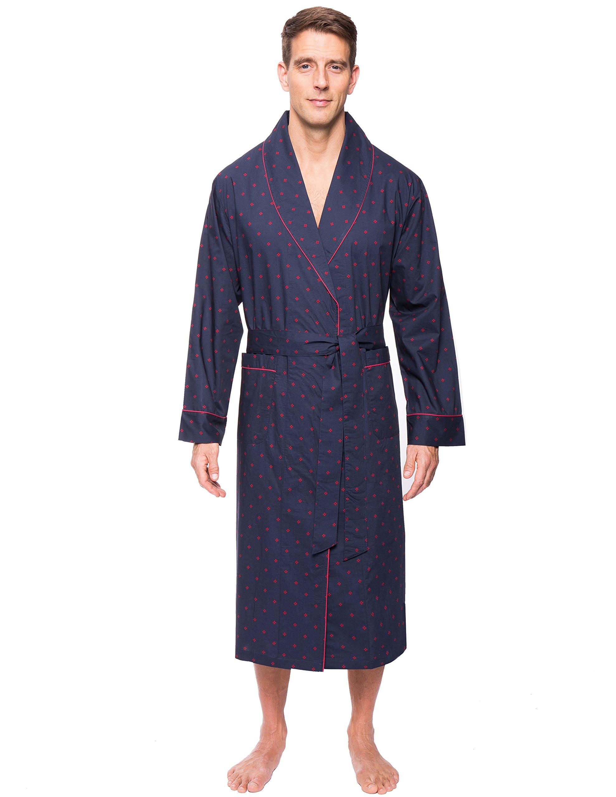 Men's 100% Premium Cotton Robe - Diamond Checks Black/Red - L/XL by Noble Mount (Image #1)