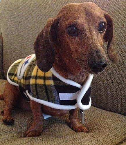 f55942d8876 Amazon.com  Miniature Dachshund Dog Coat STEELERS Dachshund Sweater  Dachshund Pajamas Dachshund Gifts  Handmade