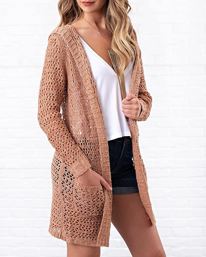 6ffdd20957 Saodimallsu Womens Boho Open Front Hoodie Cardigans Pointelle Long Sleeve  Knitted Sweaters with Pockets at Amazon Women s Clothing store