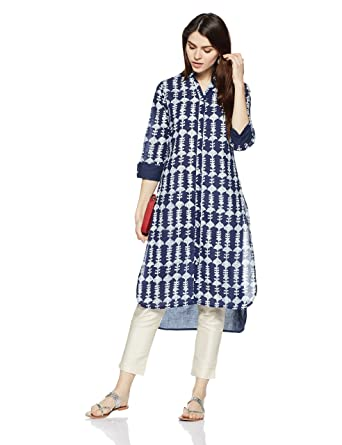 Myx Women's Asymmetrical Hemline Kurta Kurtas at amazon