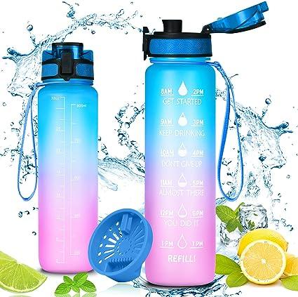 Blue Sports boisson bouteille flip up paille étanche plastique Fitness Gym 750 ml