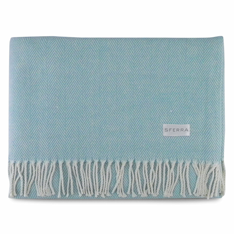 Sferra Celineヘリンボーン、100 %コットンThrow Blanket – Aqua B01JN1FUPQ