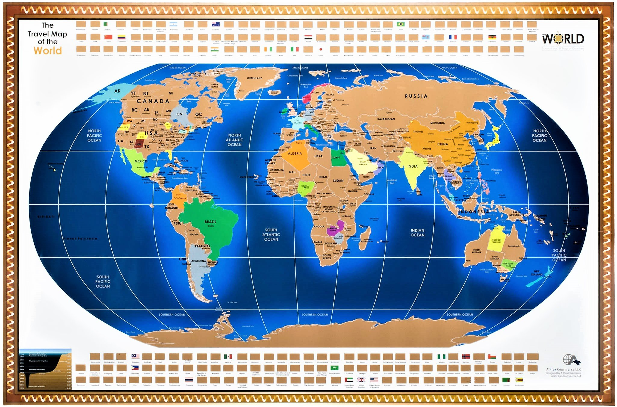 A scratch off world travel map poster x large 35 by 235 us a scratch off world travel map poster x large 35 by 235 us states canada australia china provinces outlined track your adventures includes scratcher gumiabroncs Image collections