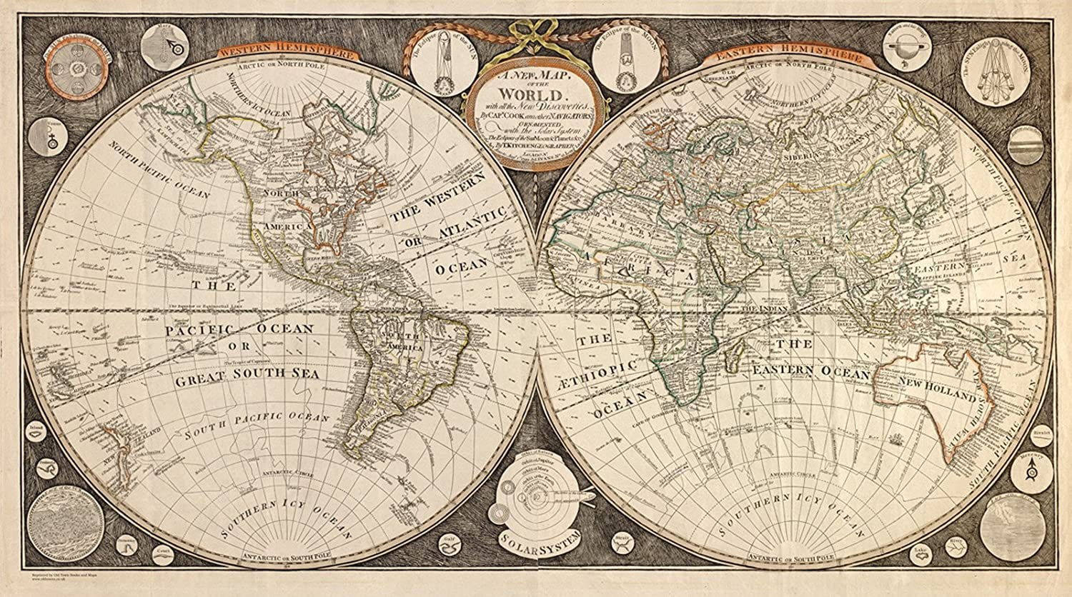 Old Map Of The World In 1799 By Thomas Kitchen Reprint Amazon Co