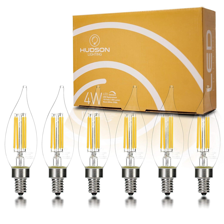 Dimmable LED Candelabra Light Bulbs: 2700K Flame Tip E12 LED Bulb for Indoor Lamp, Chandelier, Ceiling Fan or Outdoor Porch Lights - 4 Watt - 400 Lumens - Warm White Candelabra LED Bulbs - 6 Pack