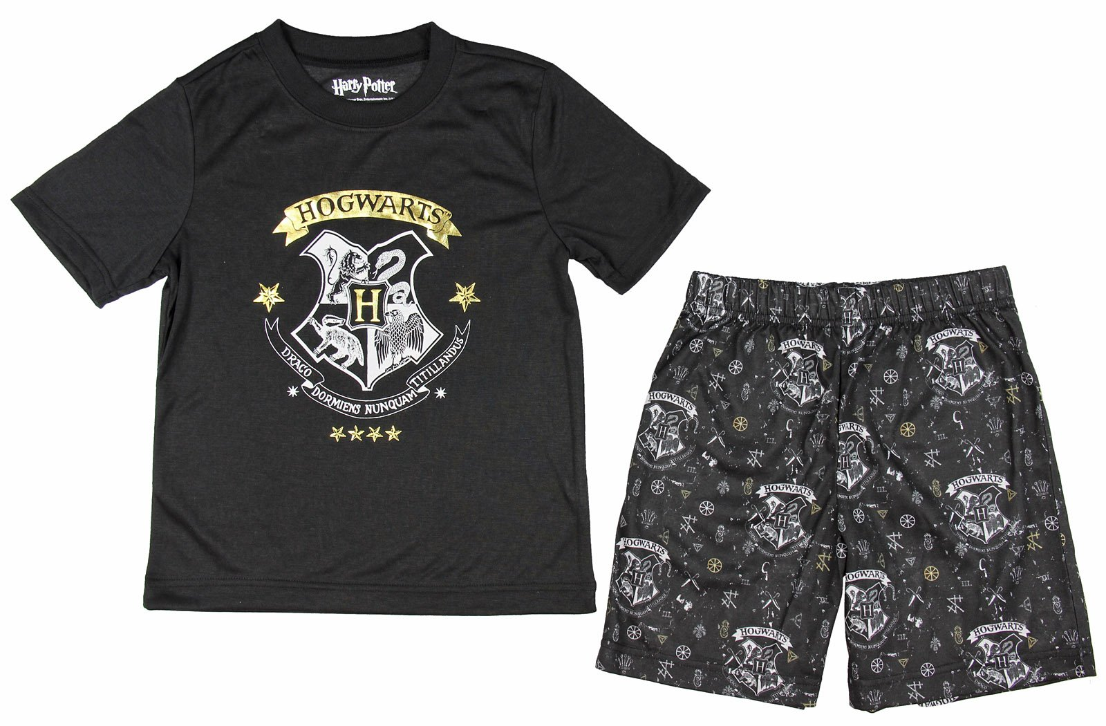 Harry Potter Big Boys' 'Hogwarts Draco Magic Crest Gryffindor, Slytherin, Hufflepuff Ravenclaw' Pajama Short Set, Black, 14/16