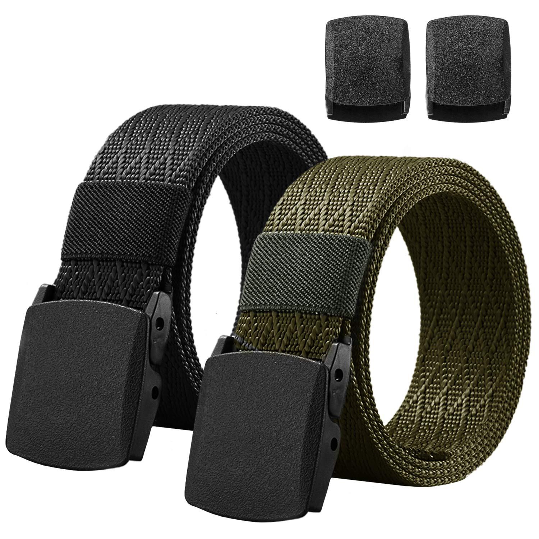 Chalier 2 Pacchi Cintura Uomo Tattica in Tela in Stile Militare 130cm Tessuto Cinta Uomo in Nylon(2 Fibbie di Plastica)