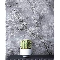 Newroom behang grijs vliesbehang licht glanzend - bloemenbehang bloemen wit zwart boom bladeren patroon behang modern…