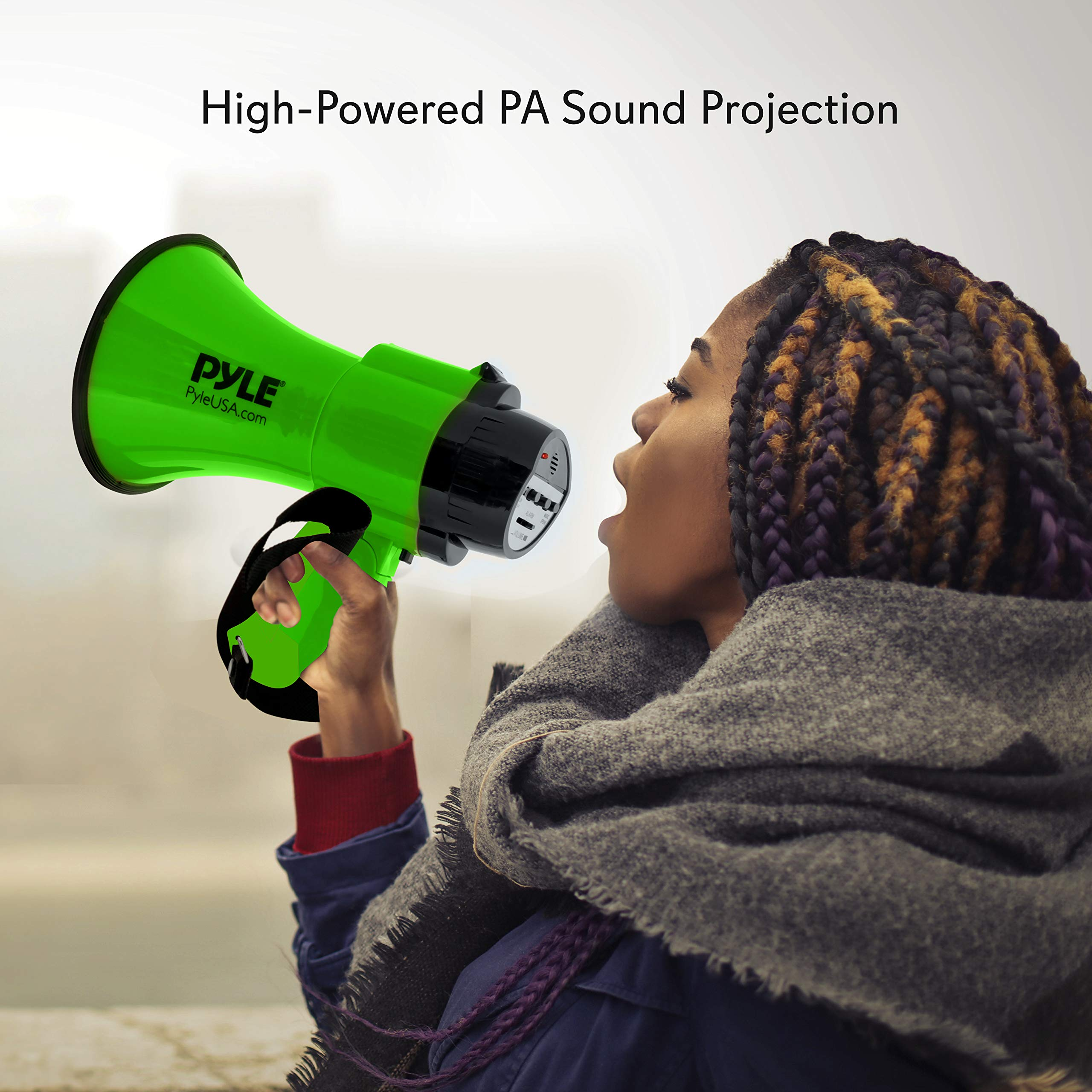 Portable Megaphone Speaker Siren Bullhorn - Compact and Battery Operated with 30 Watt Power, Microphone, 2 Modes, PA Sound and Foldable Handle for Cheerleading and Police Use - Pyle PMP32GR (Green) by Pyle (Image #6)