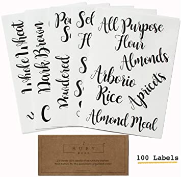 Pantry, Kitchen Labels for Food and Ingredients - Adorable