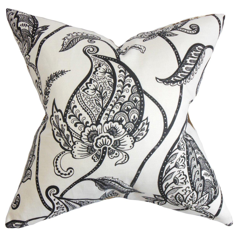 The枕コレクションFenellaフローラル枕、ブラックホワイト   B00R6K1BAU