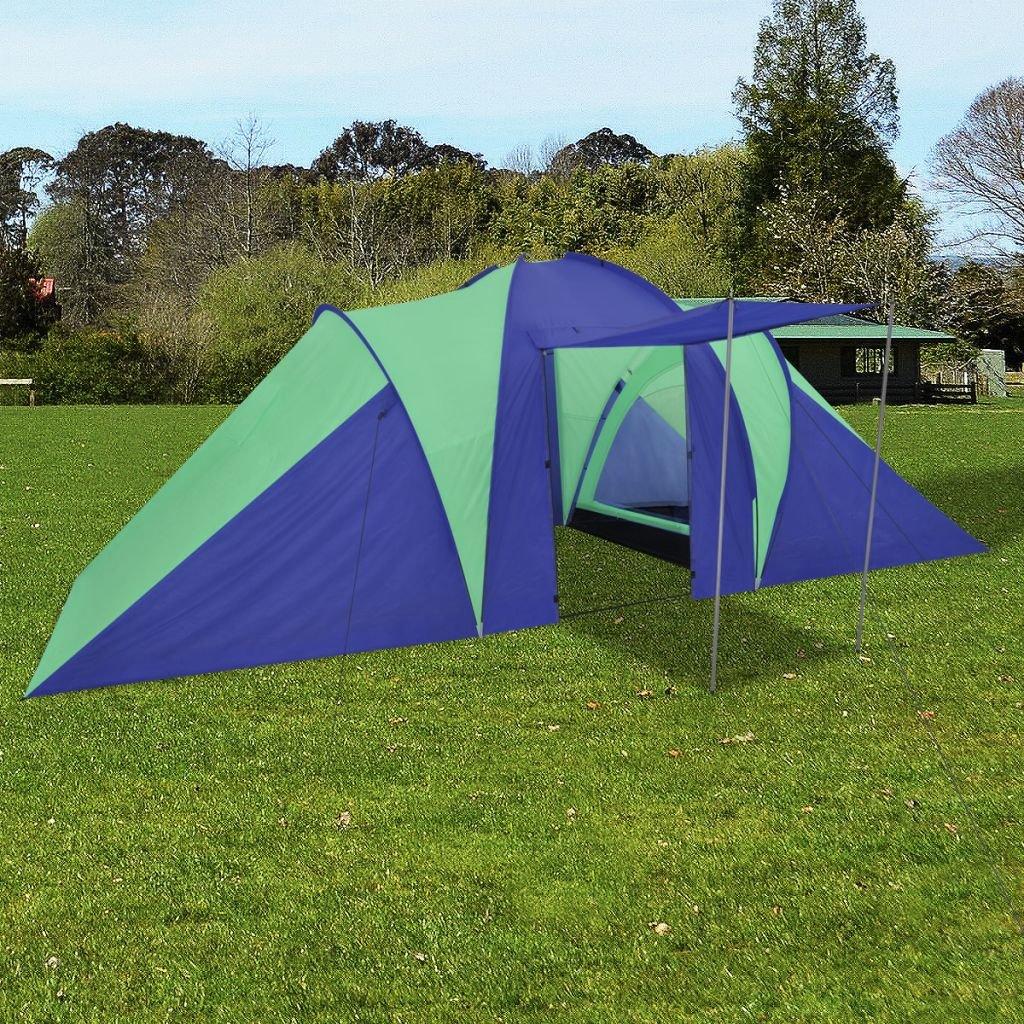 FZYHFA Zelt Grün + Marineblau, aus Polyester, Strandzelt, Faltbar, 580 x 240 x 200 cm, für: 6 Personen