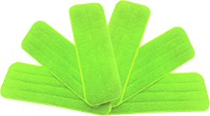 Washable Microfiber Mop Head (6 Pack) - Microfiber Replacement Mop Pads 16 x 5.5 Inches for Cleaning of Wet or Dry Floors - Professional Home/Office Cleaning Supplies, Green