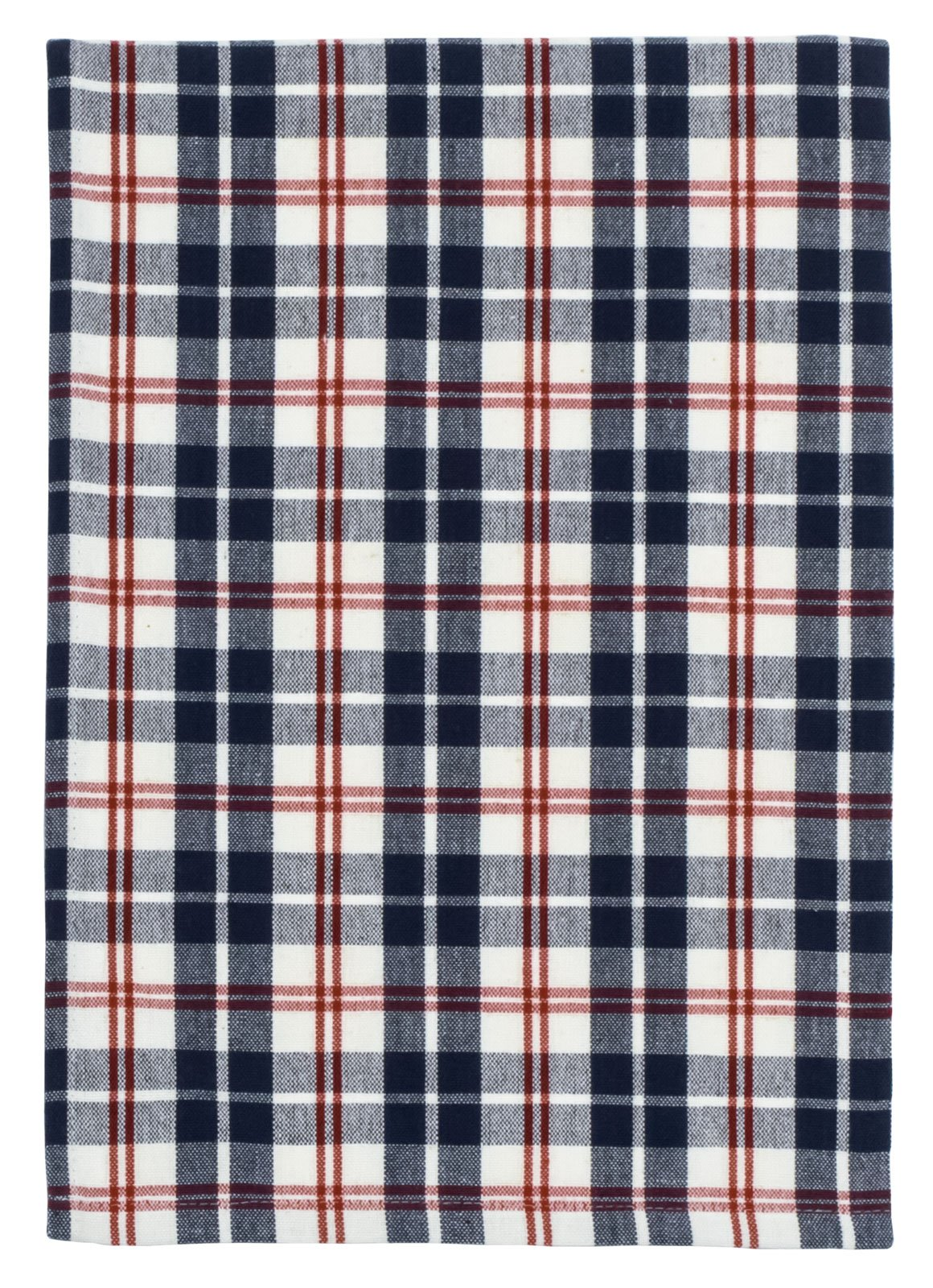 Traders and Company 100% Cotton Navy Red & White Plaid 20''x28'' Dish Towel, Set of 6 - Cape Cod by Traders and Company