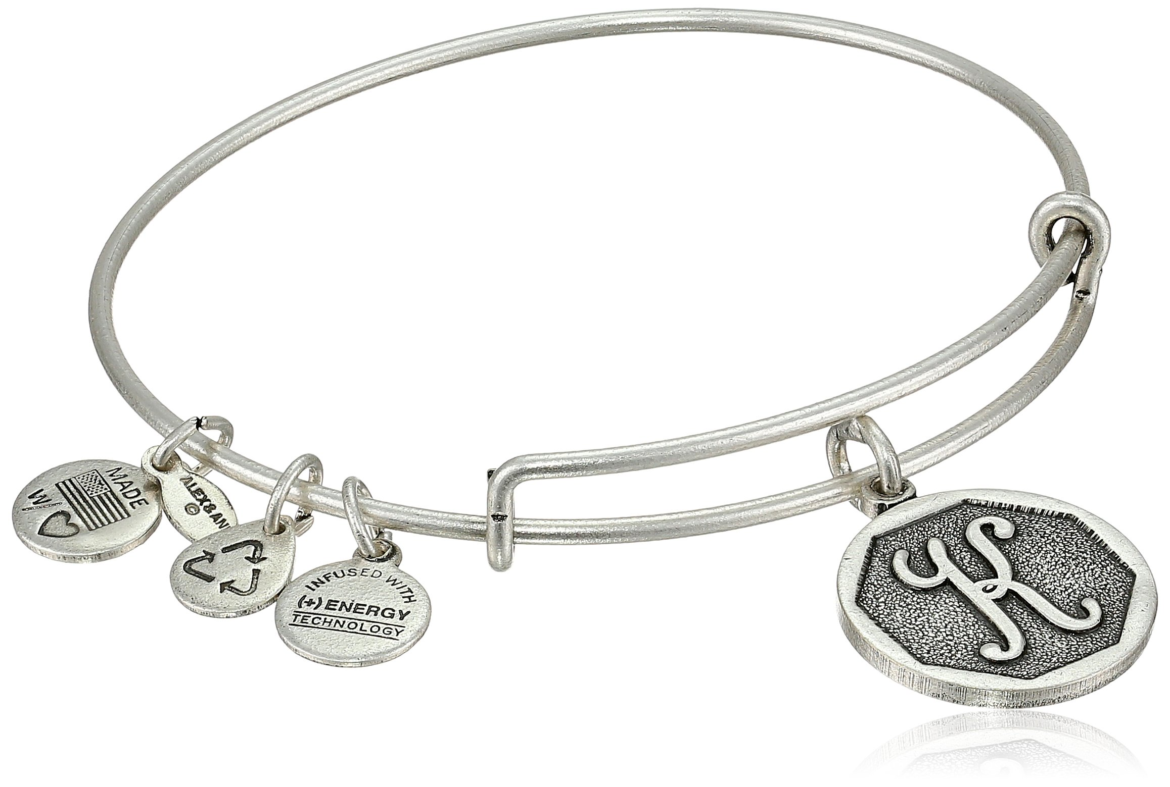 Alex and Ani Rafaelian Silver-Tone Initial ''K'' Expandable Wire Bangle Bracelet, 2.5'' by Alex and Ani