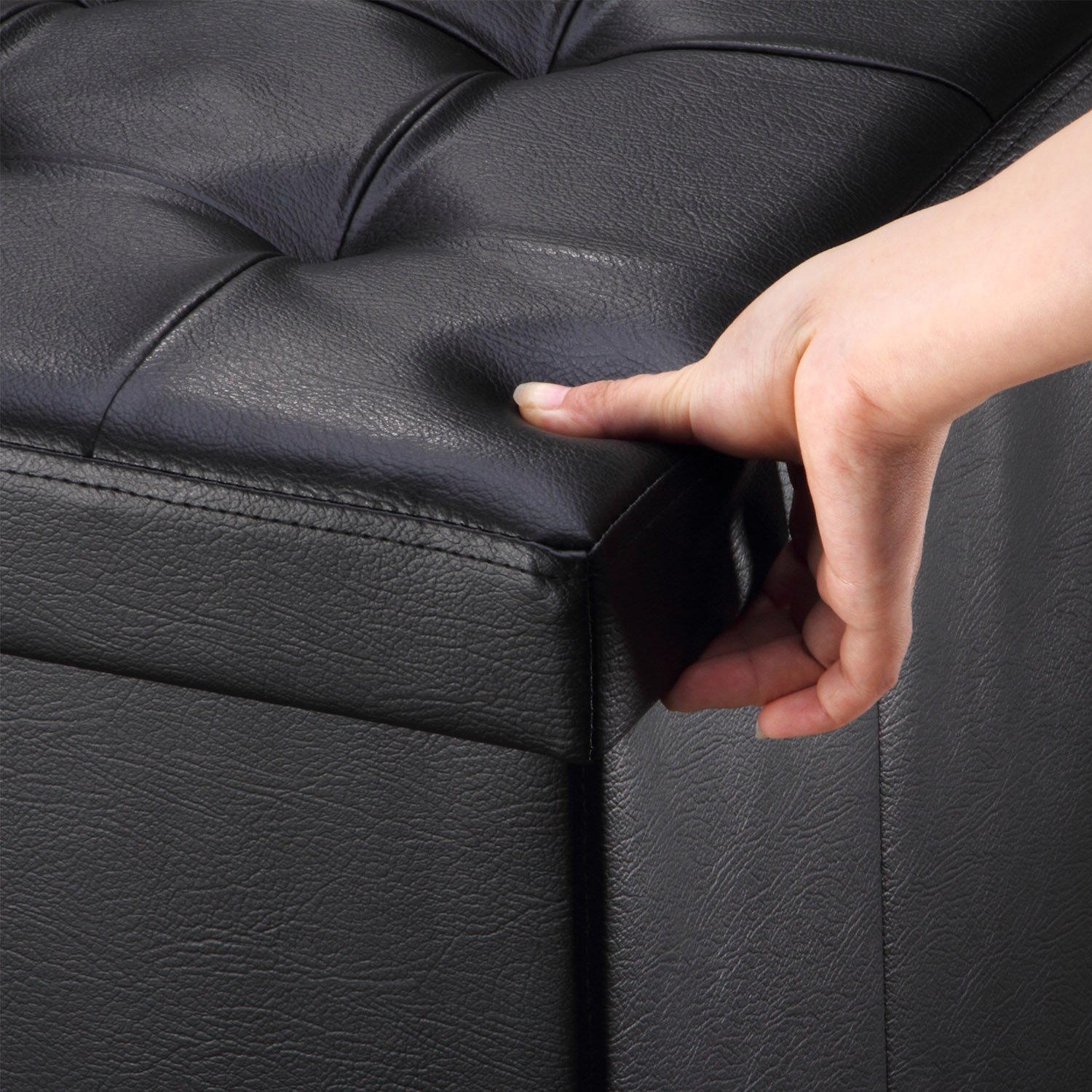 Ollieroo Faux Leather Folding Storage Ottoman Bench Foot Rest Stool Seat Black 30''X15''X15'' by Ollieroo (Image #4)