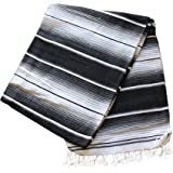 Del Mex (TM) X-large Mexican Serape Beach Blanket Two Tone Black Gray