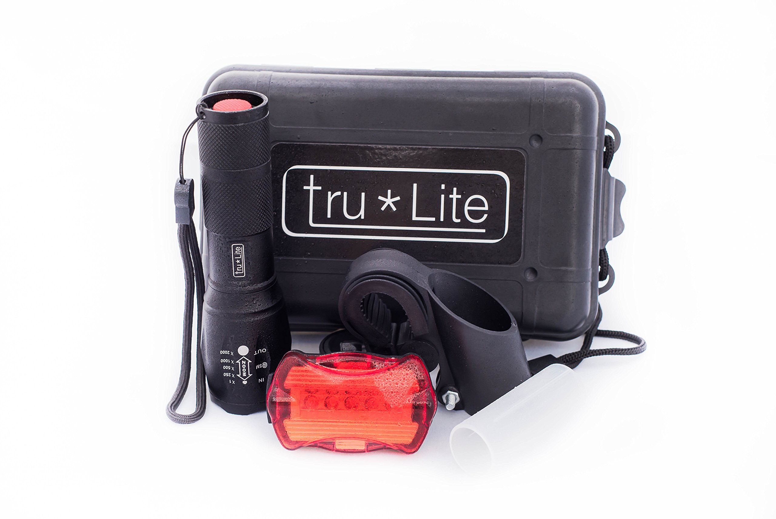 tru*Lite Bike Light Set-Super Bright 10W Removable Military Grade Tactical Flash Light-5 modes-1000+ Lumens-Zoom-5 LED Tail Light-7 modes-Water Resistant-Easy to Install-Life Time Warranty by tru*Lite (Image #1)