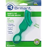 Brilliant Baby's 1st Toothbrush Teether - Premium Silicone First Toothbrush for Babies and Toddlers - Kids Love Them, Green,