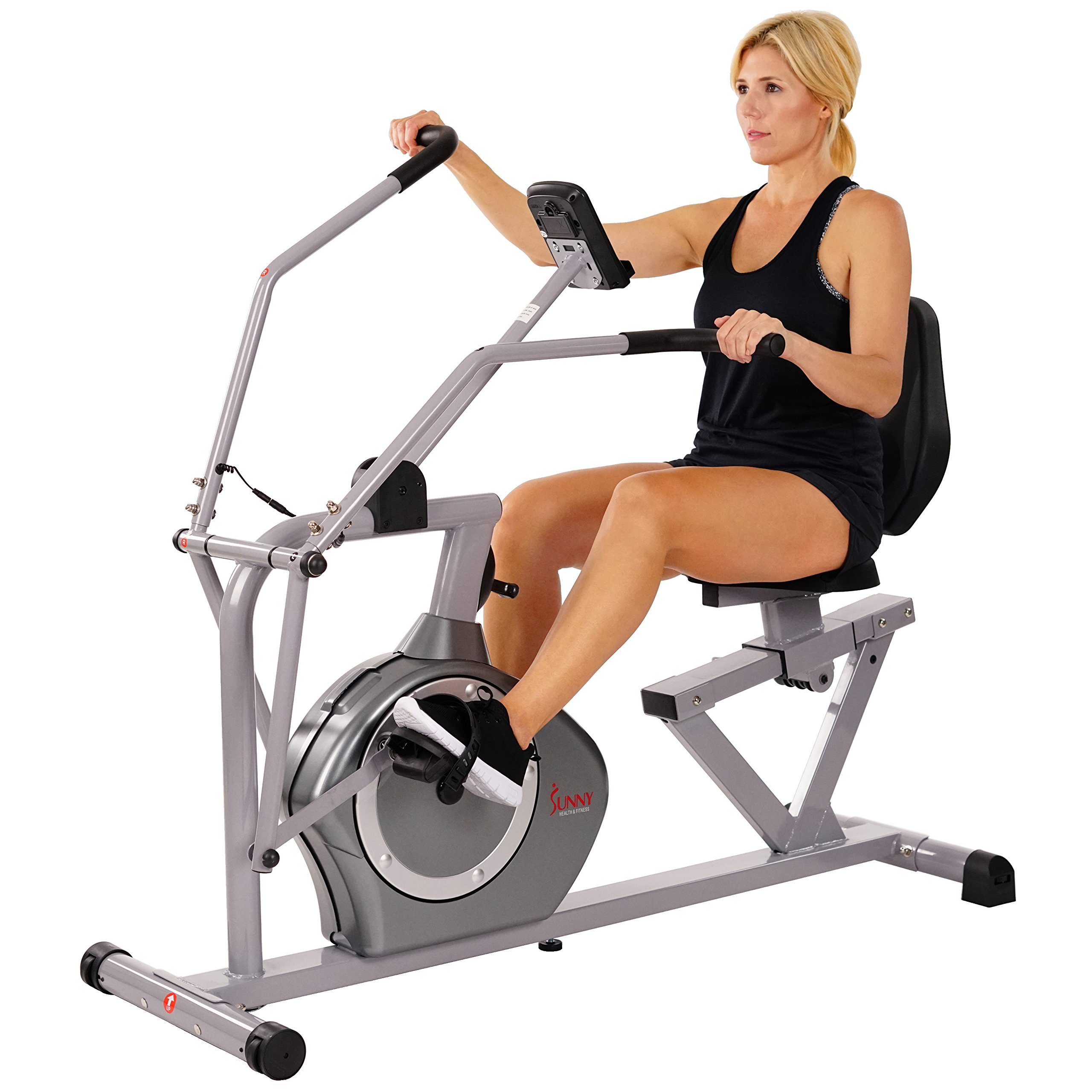 Sunny Health & Fitness Magnetic Recumbent Bike Exercise Bike, 350lb High Weight Capacity, Cross Training, Arm Exercisers, Monitor, Pulse Rate Monitoring - SF-RB4708 by Sunny Health & Fitness (Image #2)