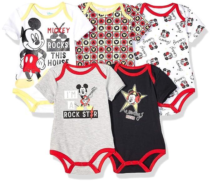 Amazon.com: Disney bebé niños Mickey 5 paquetes de monos ...