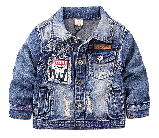 f37db8fbb3 Toddler and Little Boys Quality Distressed Denim Jacket with Patches ...