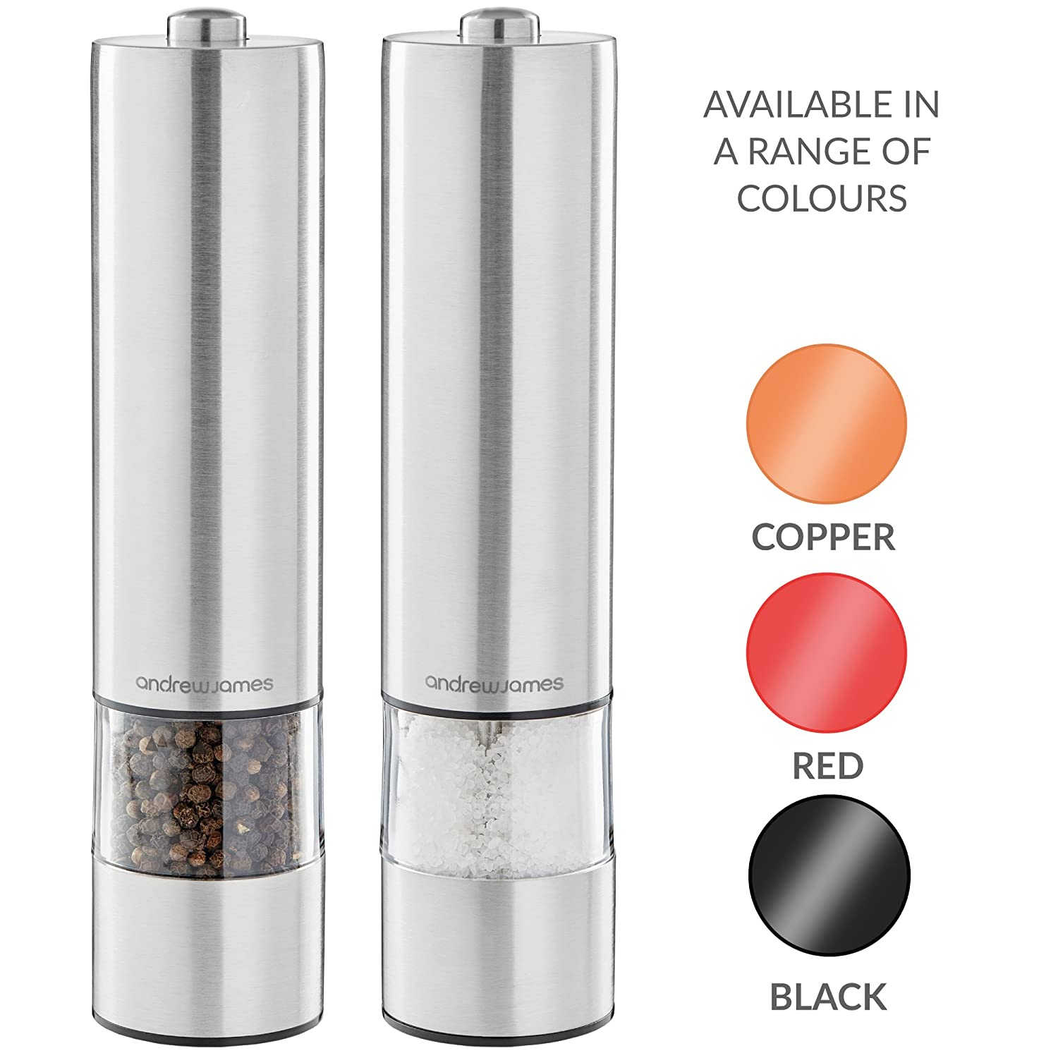 Andrew James Electric Salt /& Pepper Mill Set with One Touch Operation Battery Operated Grinders /& LED Illuminated Dispensing Adjustable Grinding Plates Refillable 23cm High x 5.5cm Diameter