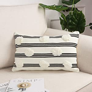 Sungea Cute Decorative Lumbar Throw Pillow Cover, 12x20 Inch Black and White Striped Pompoms Pillowcase Modern Boho Tufted Cushion Case for Girls Bedroom Couch Sofa Bed Home Decor