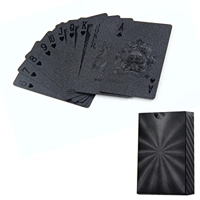 Aolvo Or 24K avec feuille Jeu de cartes Jeu de cartes Jeu de cartes étanche Noir Doré, Noir et Doré Plastique Jeu de cartes Diamond Poker jouer Cartes Cadeau 1Deck Noir