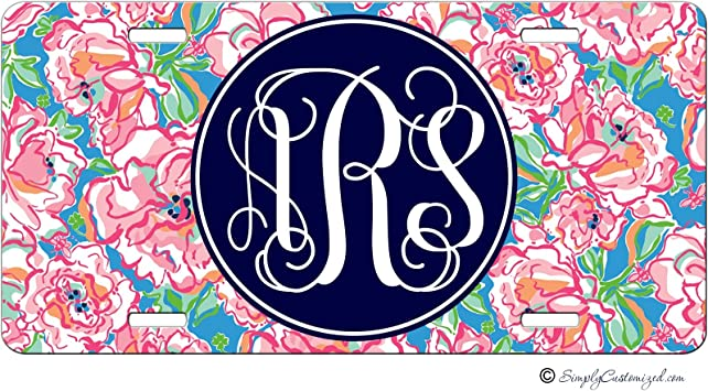 Personalized License Plate Monogram Floral Pink Turquoise Paisley License Plate Car Auto Tag Aluminum PLP
