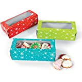 Set of 12 Holiday Snowflake Cookie Bakery Treat Boxes ~ 3 Assorted Colors Red, Teal, Lime