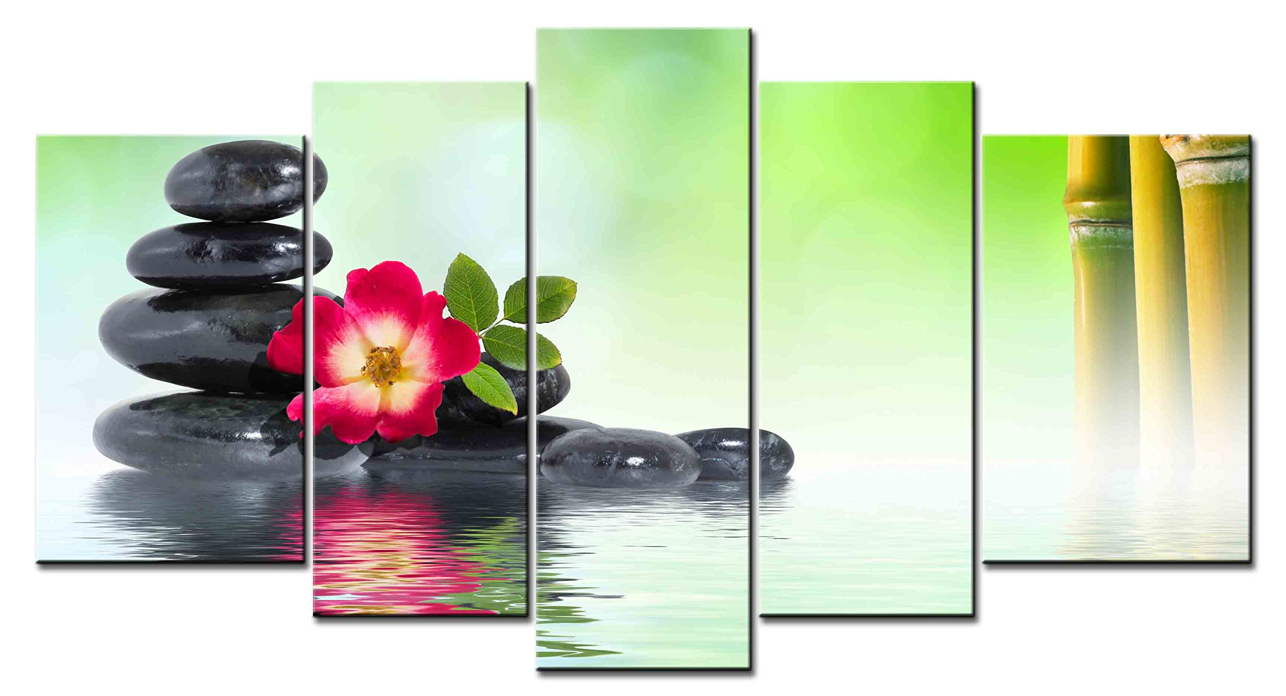 SmartWallArt - Spiritual Series 5 piece Wall Artwork Spa Stone Tower and Red Flower On The Water Near The Bamboo Pictures Modern Home Decor for Living Room Bedroom