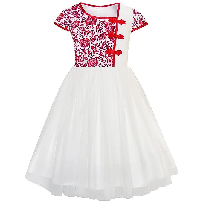 KA41 Sunny Fashion Vestido para niña Vintage Color Bloquear Gorra Manga Cumpleaños Fiesta 4 años