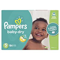 Diapers Size 5, 164 Count - Pampers Baby Dry Disposable Baby Diapers, ONE MONTH...