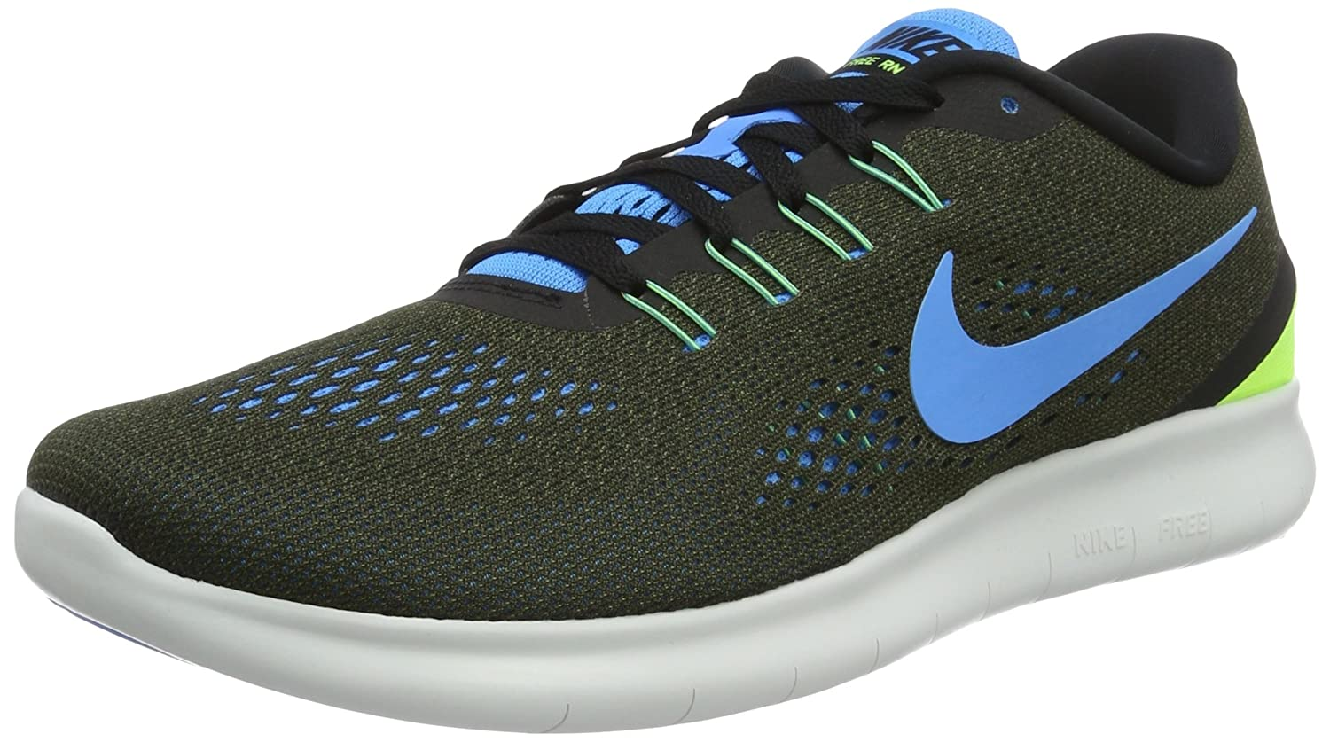 NIKE Men's Free RN Running Shoe B01CITLGDA 9.5 D(M) US|Khaki / Blue