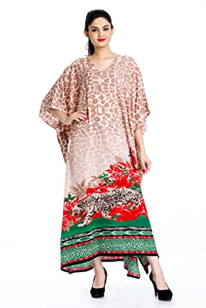 6fd7a4febdd Image Unavailable. Image not available for. Color  Plus Size Multi Color Kaftan  Dress Tunic Long Maxi Kimono Caftan Gown Nightdress Beach Dress