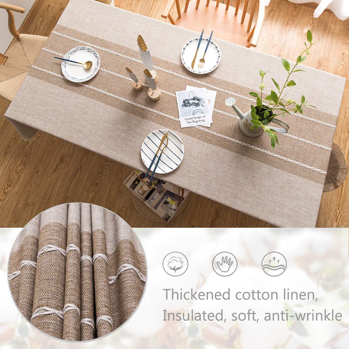 140x220cm, Lattice Gray J-MOOSE Tovaglia in Cotone e Lino Anti-Macchia Tovaglia per Tavolo Rettangolare Decorazione Domestica della Cucina