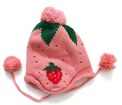 5e810cddb8b BB.31 - Bonnet Bébé Enfant 0-36 Mois - Bonnet Fraise Rose Pompom ...