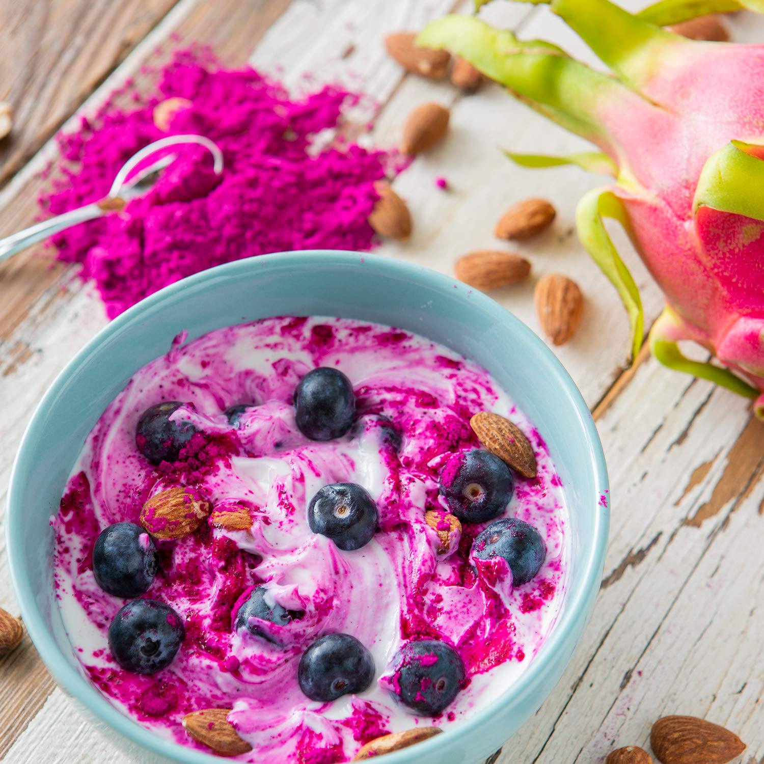 Pitaya Plus Freeze Dried Red Dragon Fruit Powder Organic. 4 Ounces of 100% Dragon Fruit for the Brightest Pink Rceipes. USDA and Oregon Tilth Organic, Non-GMO, Earth Kosher, Vegan Verified, B-Corp. by Pitaya Plus (Image #3)