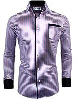 Tom's Ware Mens Classic Slim Fit Vertical Striped Longsleeve Dress Shirt