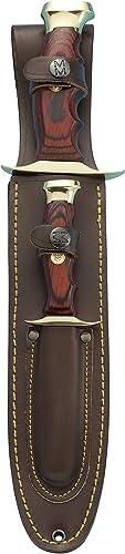 Muela BW-22P Coral Pakkawood Handle Hunting Knife Set with Leather Piggyback Sheath