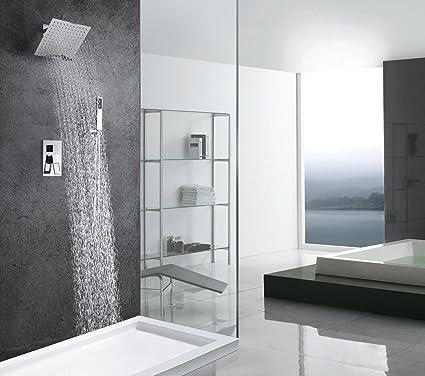 Rain Shower Valve Set Trim 10 Inch Square Shower Head Chrome Big ...