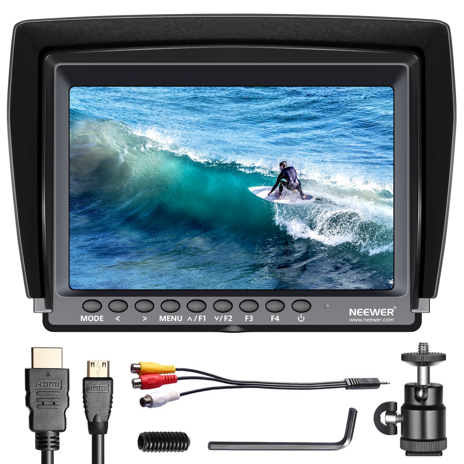 Neewer F100 7-inch 1280x800 IPS Screen Camera Field Monitor support 4k input with HDMI Cable for BMPCC,AV Cable for FPV, 16:10 or 4:3 Adjustable Display Ratio for DSLR/Camcorder(Battery NOT included) by Neewer