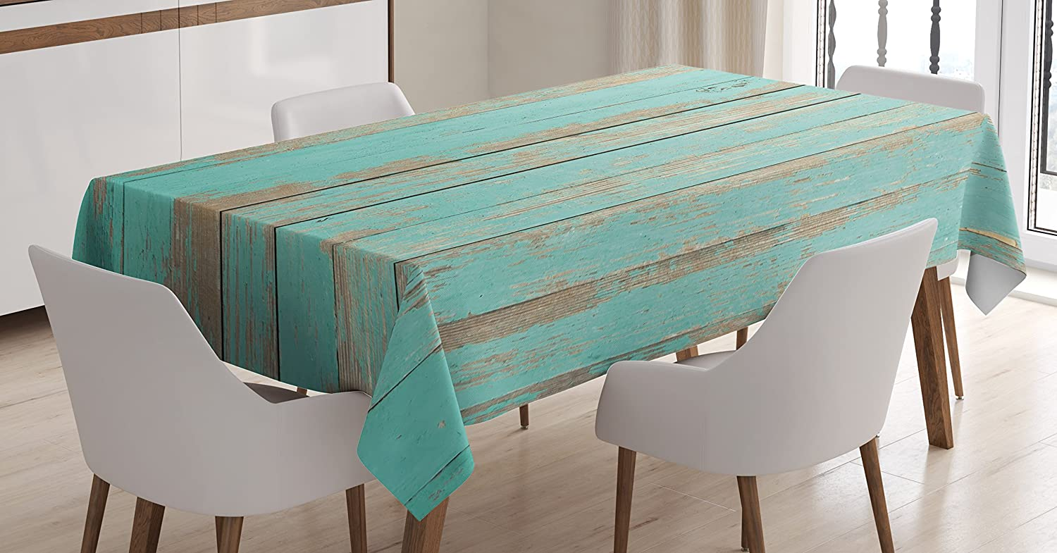 Lunarable Aqua Tablecloth, Worn Out Wooden Planks Faded Paint Marks Vintage Grunge Hardwood Image Rustic Design, Dining Room Kitchen Rectangular Table Cover, 52 W X 70 L inches, Aqua Tan