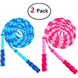 Amble 2 Pack Jump Rope Soft Beaded Segment Jump Rope - Adjustable for Men, Women and Kids - Tangle-Free for Keeping Fit, Training, Workout and so on - 9 Ft (Blue/Pink)