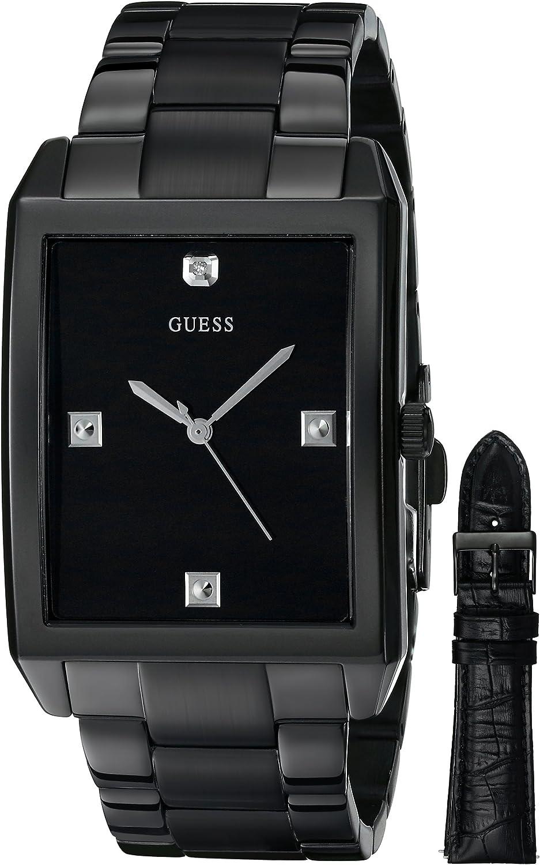 GUESS Men s U0105G1 Classic Diamond Accent Black Sport Watch