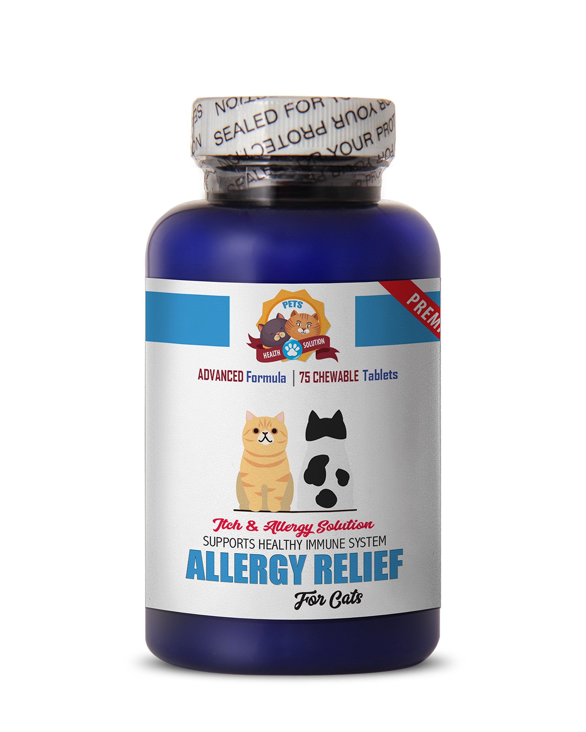 PETS HEALTH SOLUTION allergy pills for cats - PREMIUM ALLERGY RELIEF FOR CATS - IMMUNE SUPPORT - STOP THAT ITCH - TREATS - cats allergy relief - 75 Treats (1 Bottle) by PETS HEALTH SOLUTION