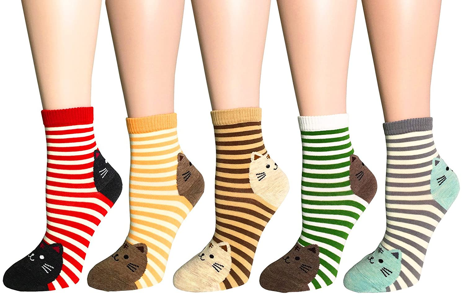 FULIER Womens Novelty Cartoon Cute Design Casual Cotton Fun Dress Ankle Crew Socks
